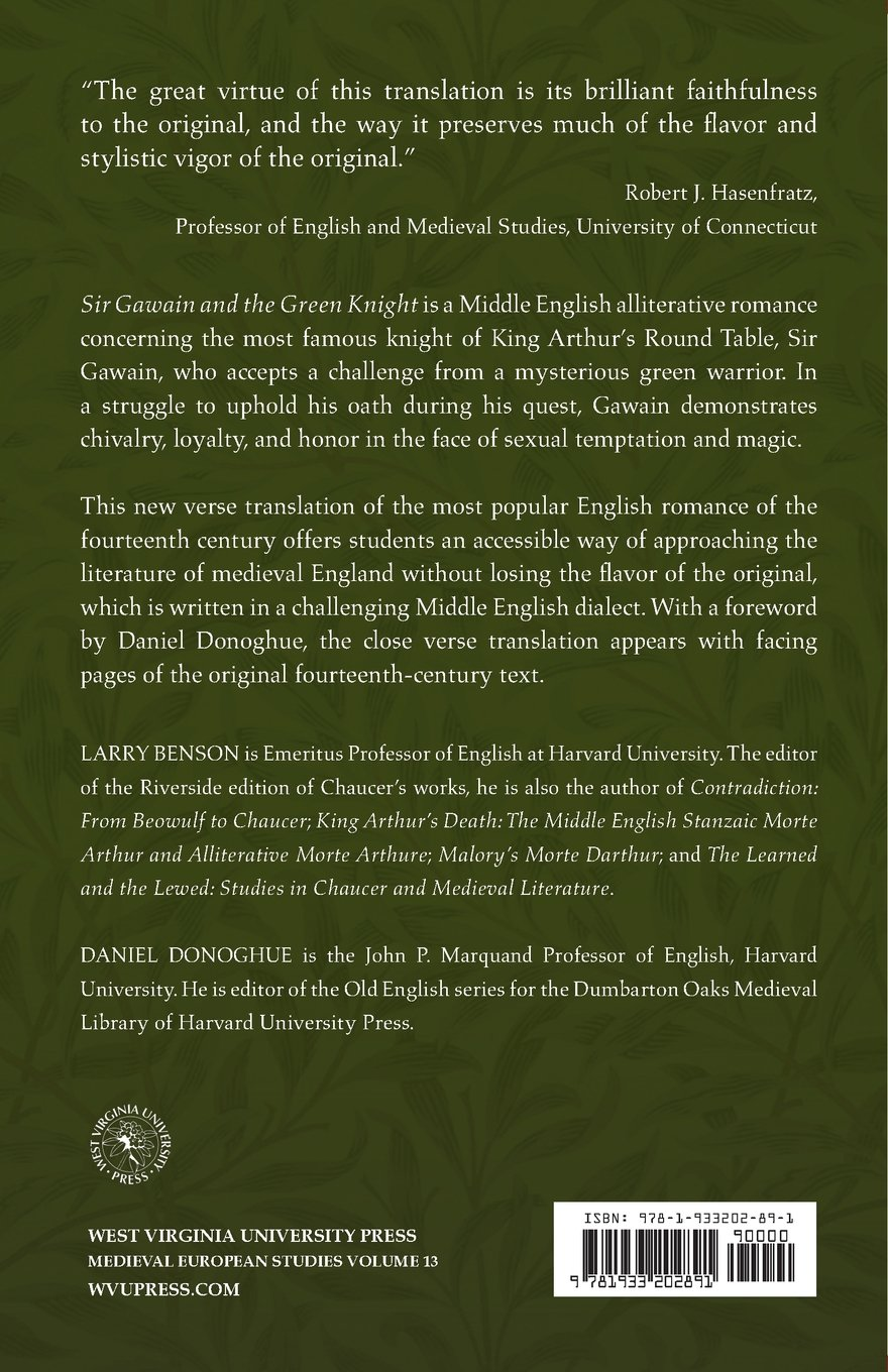 Sir gawain and the green knight a close verse translation wv sir gawain and the green knight a close verse translation wv medieveal european studies larry d benson daniel donoghue 9781933202891 amazon fandeluxe Image collections