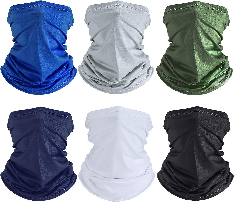 Summer UV Protection Face Clothing Neck Gaiter Scarf Sunscreen Breathable Bandana (Black, White, Light Grey, Royal Blue, Navy Blue, Army Green, 6)