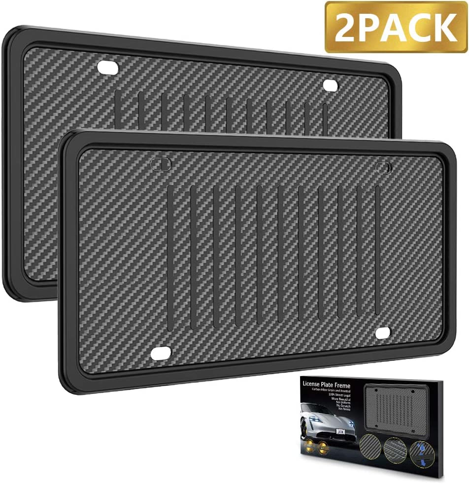LEADSTAR License Plate Frames Silicone License Plate Holder, Rust-Proof Rattle-Proof Weather-Proof with 3 Drainage Holes Black Silicone License Plate Frame Cover (2 Pack)
