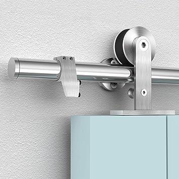 FREDBECK 8FT Nickel Sliding Barn Door Hardware Kit Single Door Hardware with Stainless Steel Handle and Floor Guide