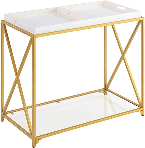Convenience Concepts St. Andrews Console Table, White Gold