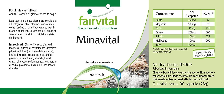 Minavital - 1 mes - VEGANO - ALTA DOSIS - 90 cápsulas - multimineral con minerales esenciales y oligoelementos: Amazon.es: Salud y cuidado personal