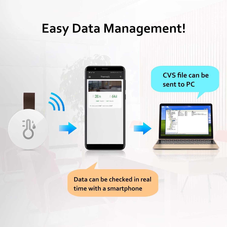 2020 New】Esolom Termómetro Higrómetro Inalámbrico Bluetooth y ...