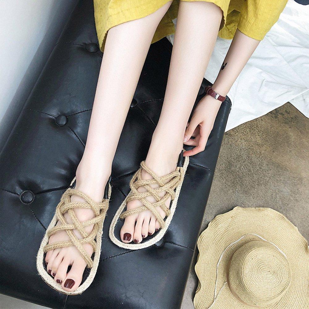 XING GUANG Sommer Neue Koreanische Frauen Schuhe Gras Weave Hanf Flache Dünne Riemen Sandalen,Yellow(35  Yellow(35)