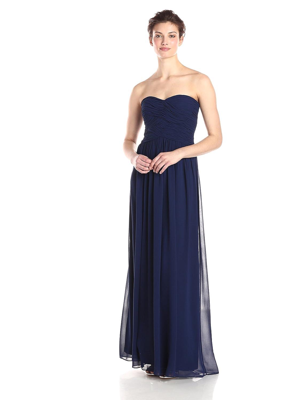 Donna Morgan Womens Audrey Long Strapless Chiffon Gown