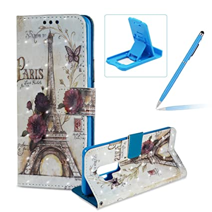 Wallet Leather Case for Galaxy S9 Plus,3D Special Effects Flip Cover for  Galaxy S9 Plus,Herzzer Stylish Paris Flower Print Magnetic Full Body Slim