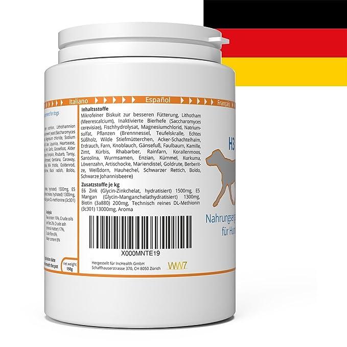 ww7 H3 Fórmula Natural para Piel, Pelaje y caspa de Perros -150g: Amazon.es: Productos para mascotas