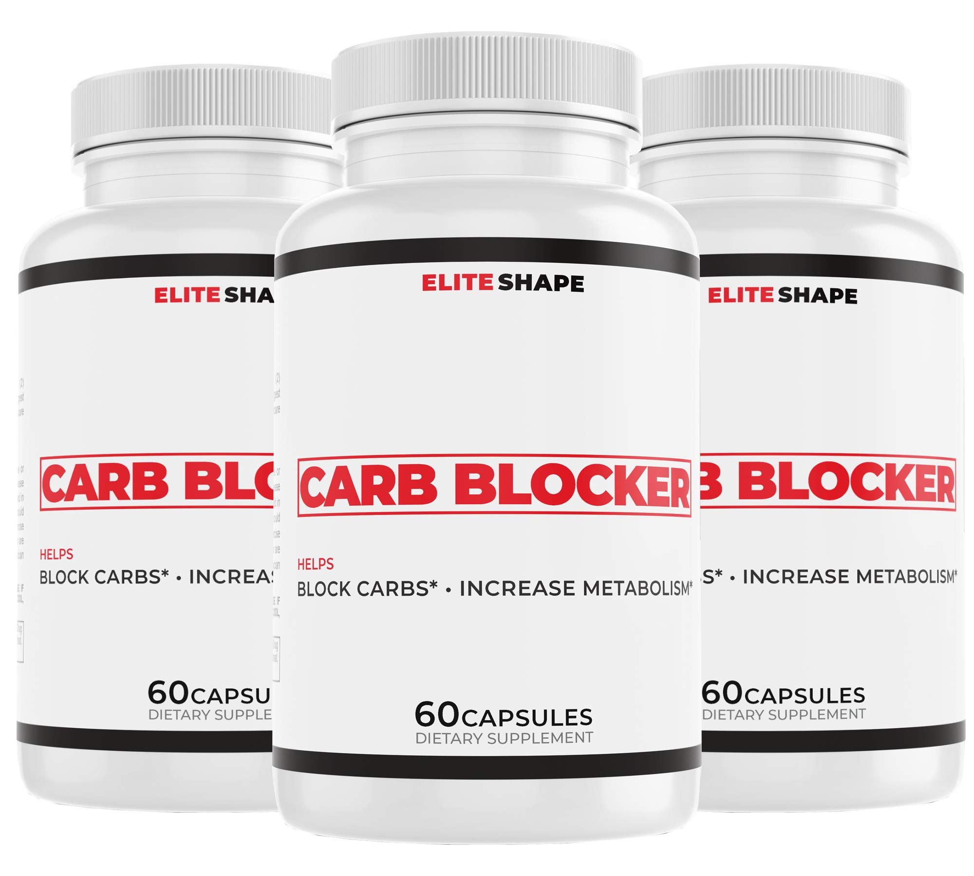 Carb Blocker by Elite Shape | Dietary Supplement to Accelerate Weight Loss | Blocks Fats, Carbs, and Starches | 60 Capsules (3) by Elite Shape (Image #1)