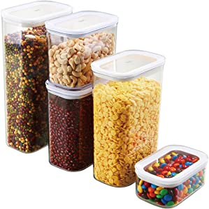 Glad Food Storage Containers Airtight with Lids | Stackable Canisters for Cereal, Pasta, Baking Supplies | Kitchen Pantry Organization | Assorted Sizes, Set of 5, Clear