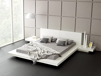 Hekami Engineered Wood King Size Bed With Side Tables White High