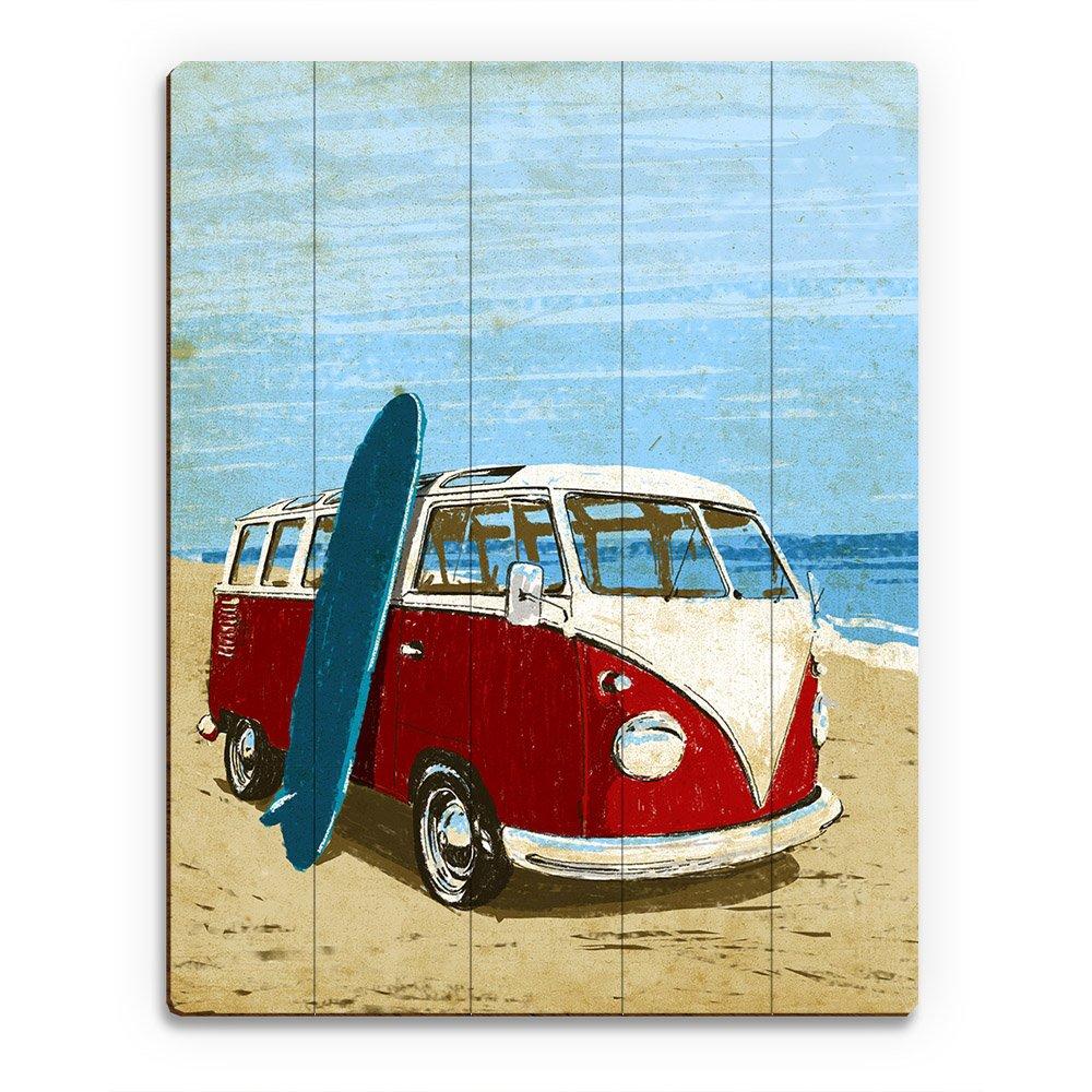サーフィンRoad Tripレッドバス: Classic Van onビーチサーフボードwith Distressed Drawing Painting壁アートプリント 16x20 TPC0000059PLK16X20XXX 16x20 ウッド B01M14BEW1