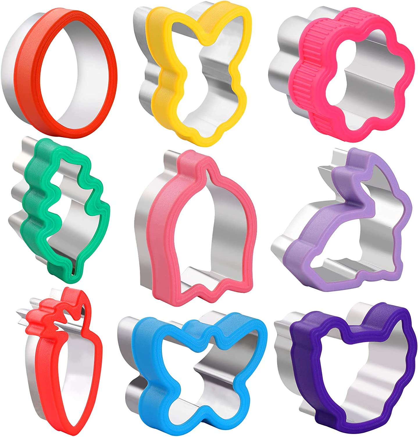 9pcs Easter Cookie Cutter Shapes Set,stainless steel-food grade Fruit and Cookie Stamps cutter Mold,Decorative Food and Food Supplement Tools Accessories Crafts for Kitchen