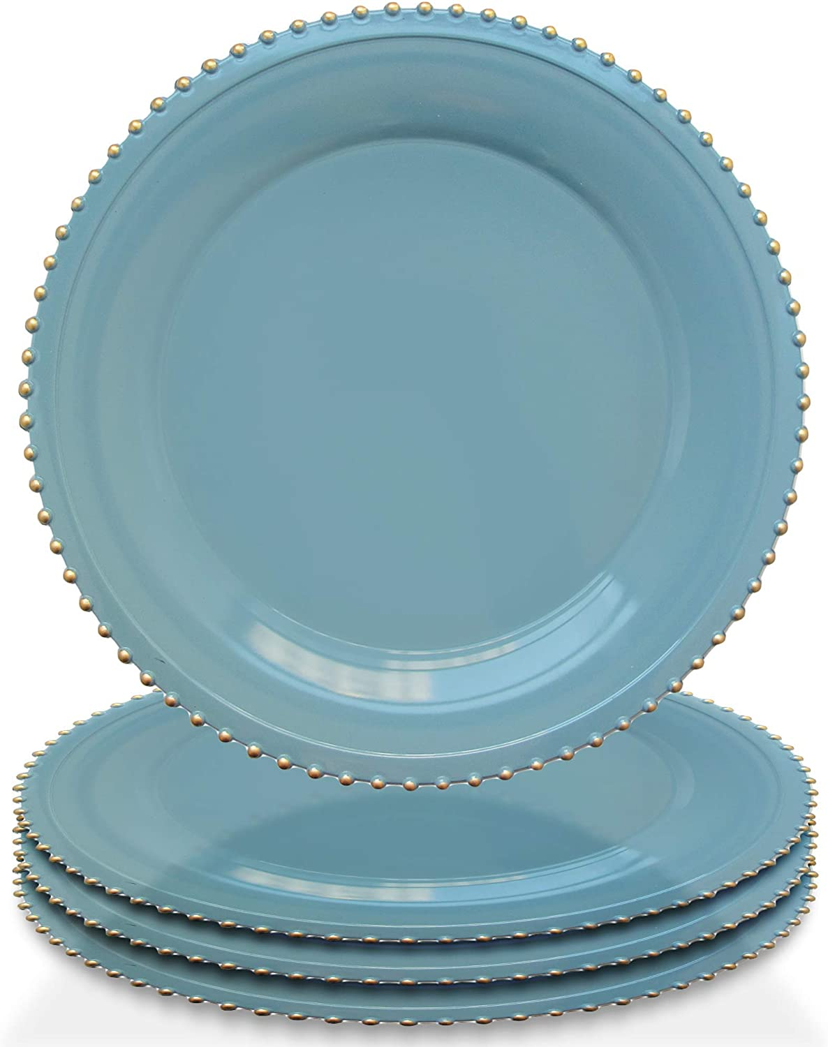 """Elle Decor Beaded Set of 4 Charger Large 13"""" Decorative Melamine Service Plate for Home & Professional Fine Dining-For Catering Events, Dinner Parties, Weddings, Blue"""