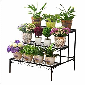 Blumentreppe Metall Blumenständer Balkon schwarz 3 Etagen für 6 Töpfe