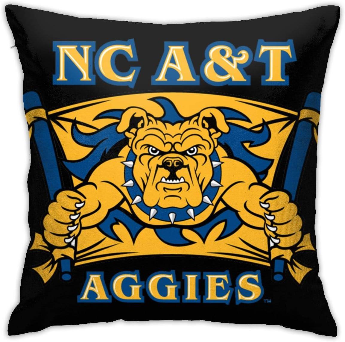 "Nc North Carolina A&T State University Aggies Pillow Covers Decorative Pillowcases Sofa Home Decor 18""X 18""Inch (45 X 45cm)"