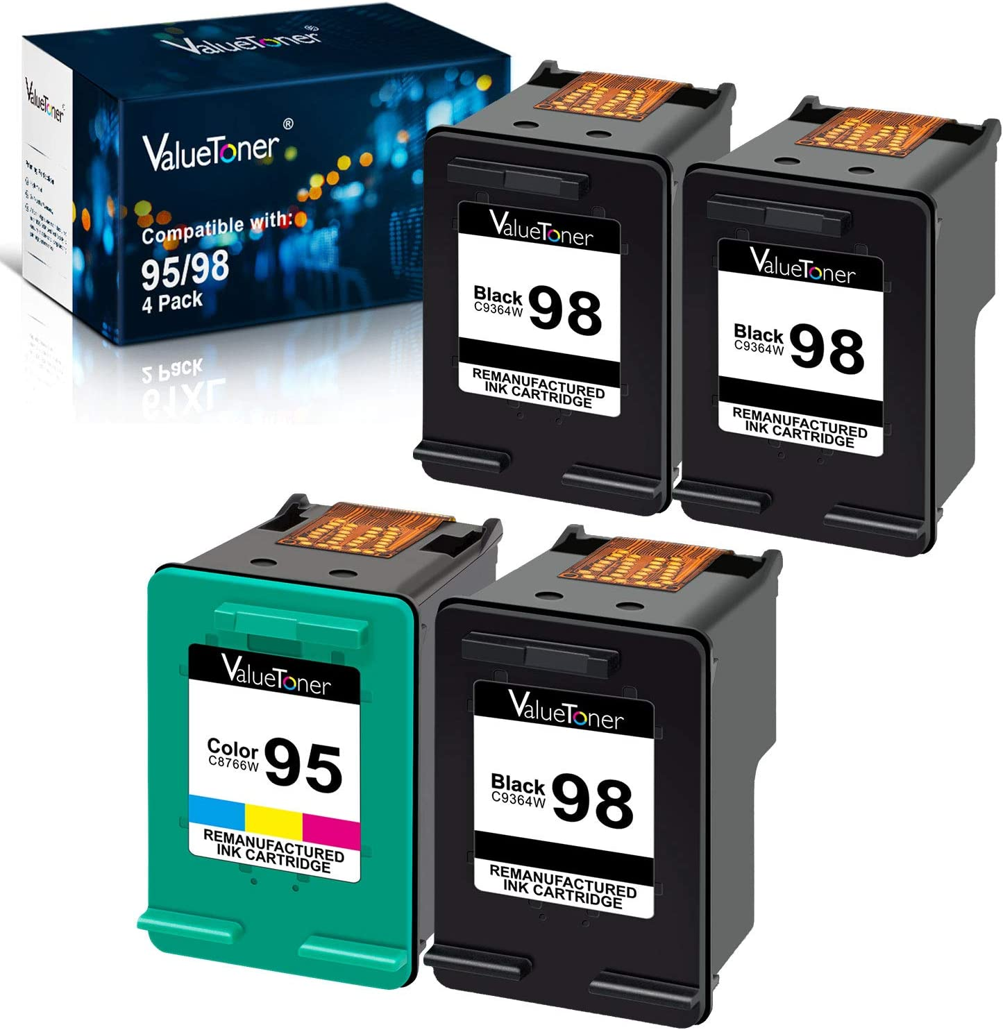 Valuetoner Remanufactured Ink Cartridges Replacement for HP 98 C9364WN & 95 C8766WN (1 Black, 1 Color) Bundled with 2 Black