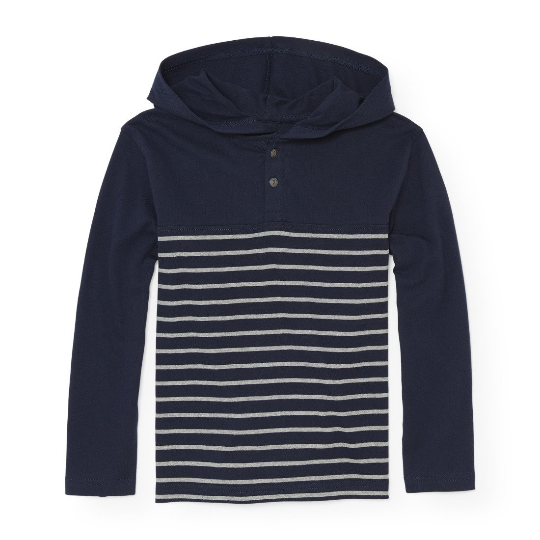 The Children's Place Big Boys' Stripe Hooded Tee, Tidal, M (7/8)
