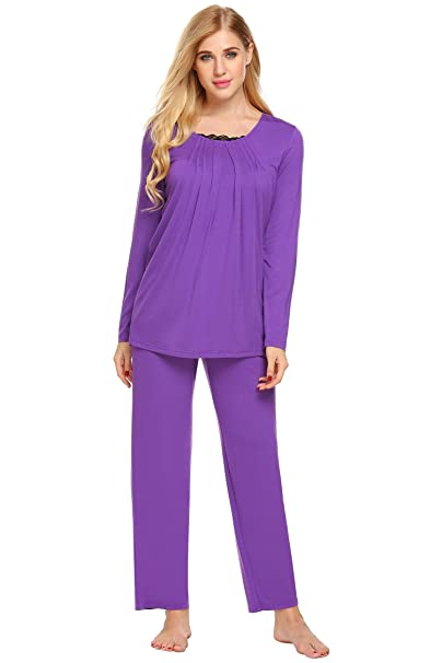 801824c46322 Zouvo Women s Comfort Sleepwear Long Sleeve Pajama with Pj Set (Purple