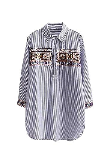Azbro Mujer Blusa Bordada Pullover Estilo Suelto Mangas Largas