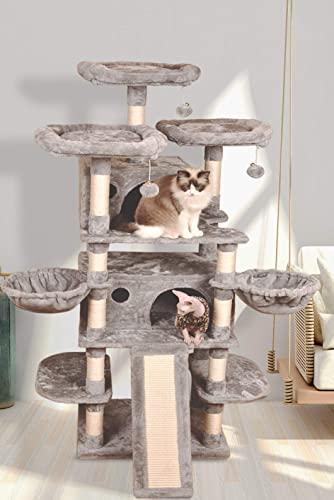 Allewie 68 Inches Large Multi-Level Cat Tree Condo with Sisal Scratching Posts, Perches, Houses, Hammock and Baskets, Cat Tower Furniture Kitty Activity Center Kitten Play House