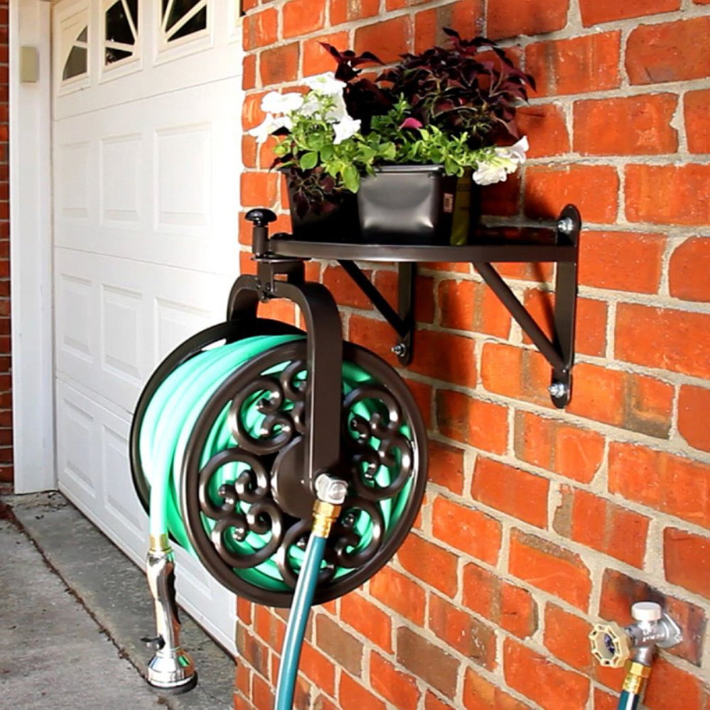Best Selling Yard Garden Powder Coated Bronze Rotating Rust Resistant Wall Mounted Hose Reel With Storage Ledge- Easily Stores Up To 125' Of 5/8'' Hose Neatly Tangle Free- Makes Watering Simple Task