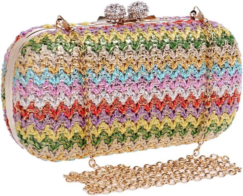 19x6x10CM Fashion Multi-Function Horizontal Handbag Vintage Colored Woven Lady Carrying Evening Bag Handbag