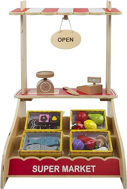 WOOMAX - Supermercado de Juguete de Madera con Accesorios Comida Juguete, Caja registradora jugue...
