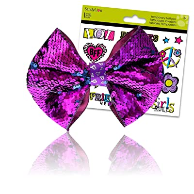 JoJo Bows for Girls Hair Bow with BFF Temporary Tattoos (Reversible Sequin JoJo Bow Purple & Blue): Toys & Games