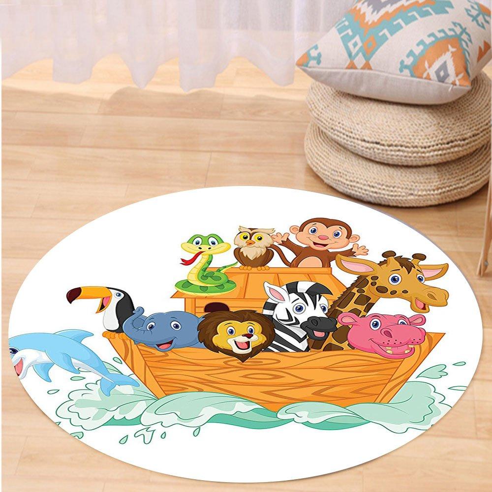 VROSELV Custom carpetNoahs Ark Decor Fun Animals in Noahs Ark Floating Myth Creatures Grace Nature Theme Illustration Art Bedroom Living Room Dorm Decor Multi Round 72 inches