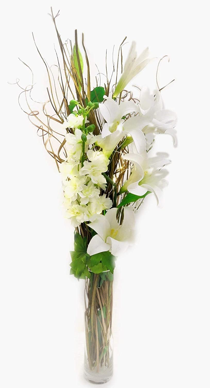 Dried & Artificial Magnolia, Hydrangea Bouquet & 20 lights 30 cm VASE Included link products