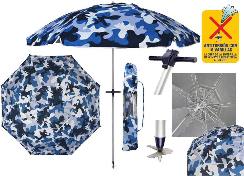 Pincho Sombrillas Playa 2m Aluminio UPF+50 99% UV Punta de Aluminio Reforzado 16 Varillas-Anti torsión (Azul Militar).: Amazon.es: Jardín