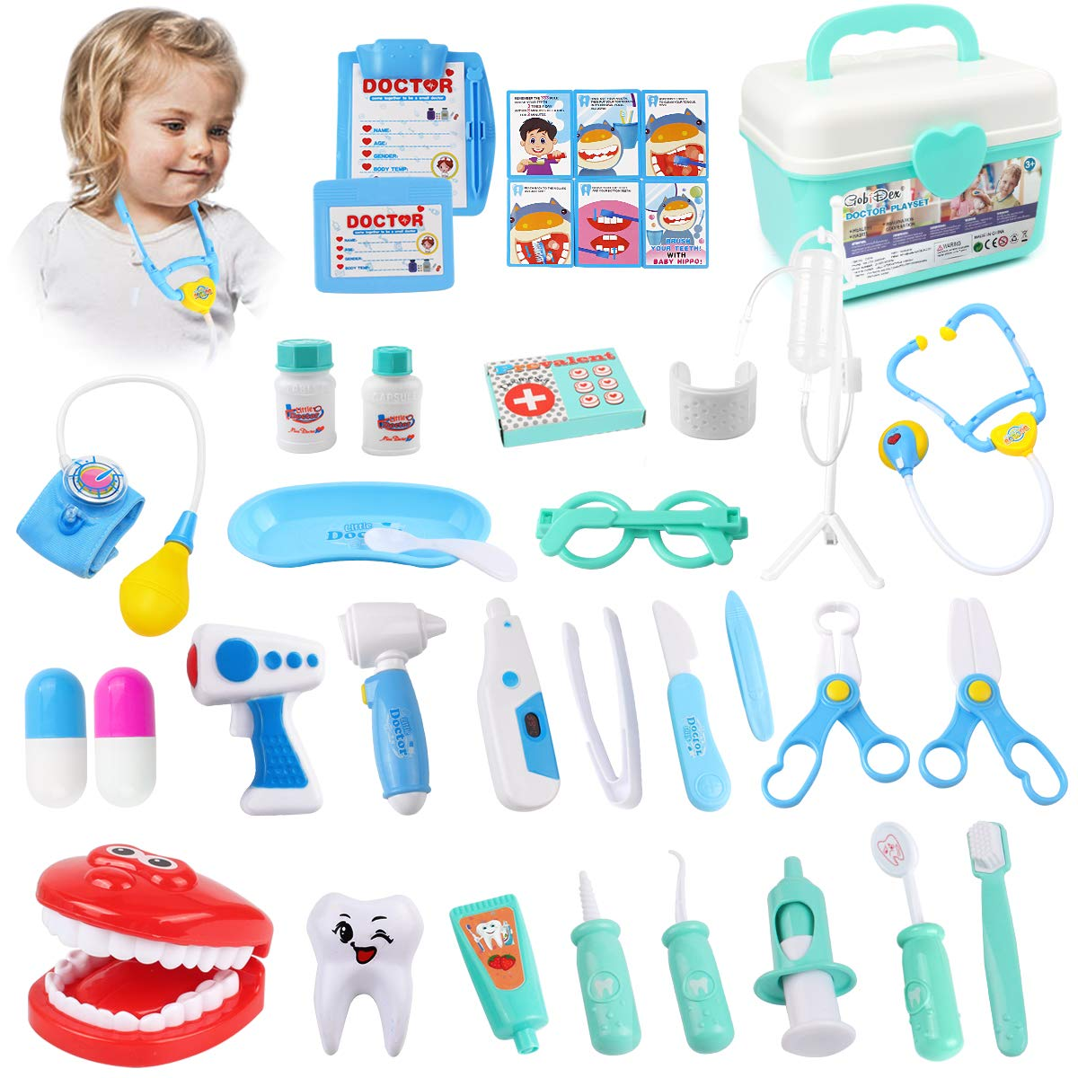 KIDCHEER Pretend Play Doctor Kit for Kids, Dentist Role Play Educational Toy with Storage Box - 36PCS