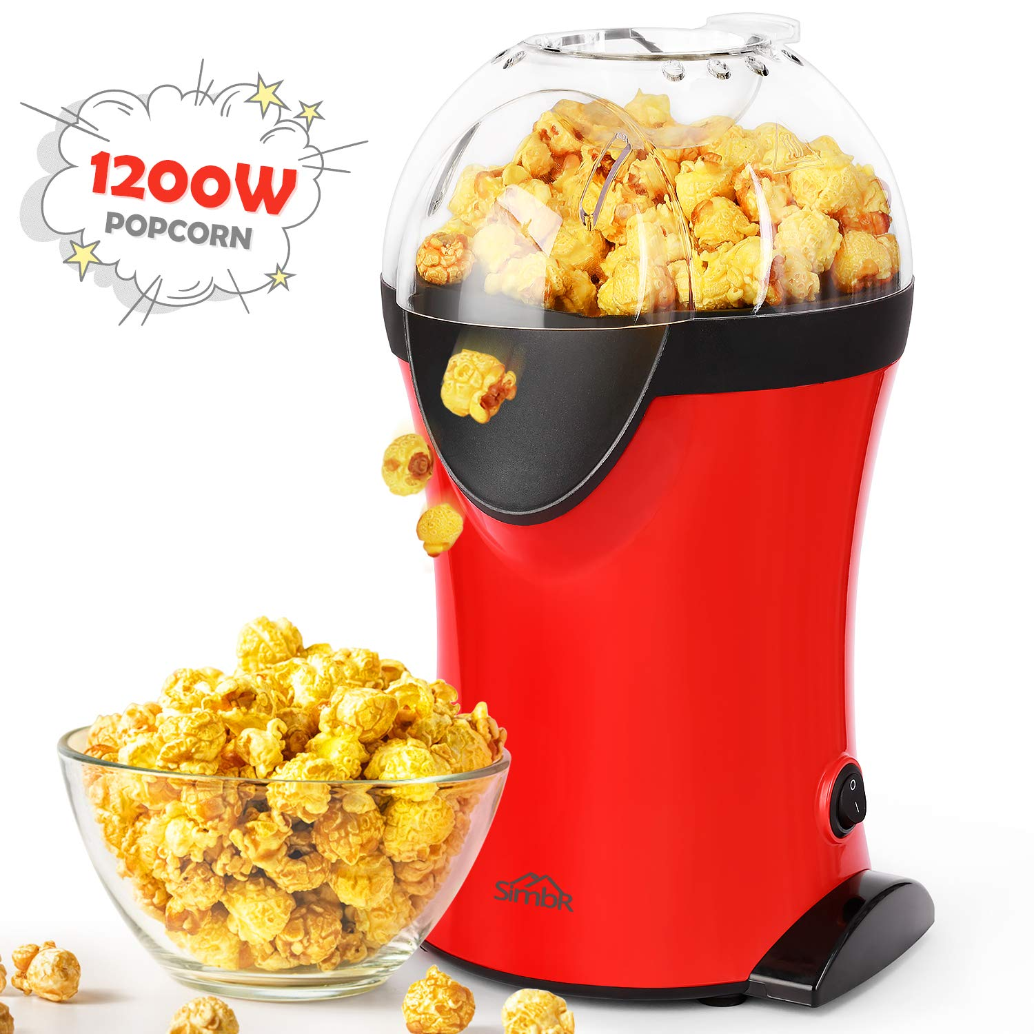 Popcorn Popper, SIMBR Hot Air Popcorn Maker with Measuring Spoon and Large Lid for Serving Bowl and Convenient Storage, 1200W Electric Popcorn Machine, No Oil Need