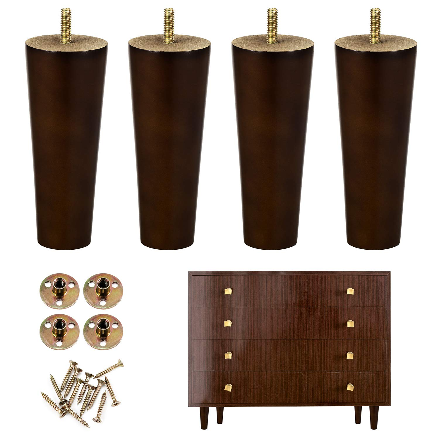 One Sight Wood Furniture Legs, 6 Inch Furniture Leg Wood Sofa Legs Replacement Legs for Armchair, Cabinet, Couch, Dresser(Set of 4)