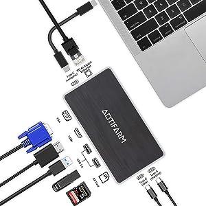 USB C Hub 8 in 1 Multi-Port USB C Docking Station Laptop Adapter with Charging Power, Audio, 4K HDMI, VGA,Gigabit Ethernet,Micro/SD Card Reader for Chromebook, MacBook Pro 2018, 2017, 2016