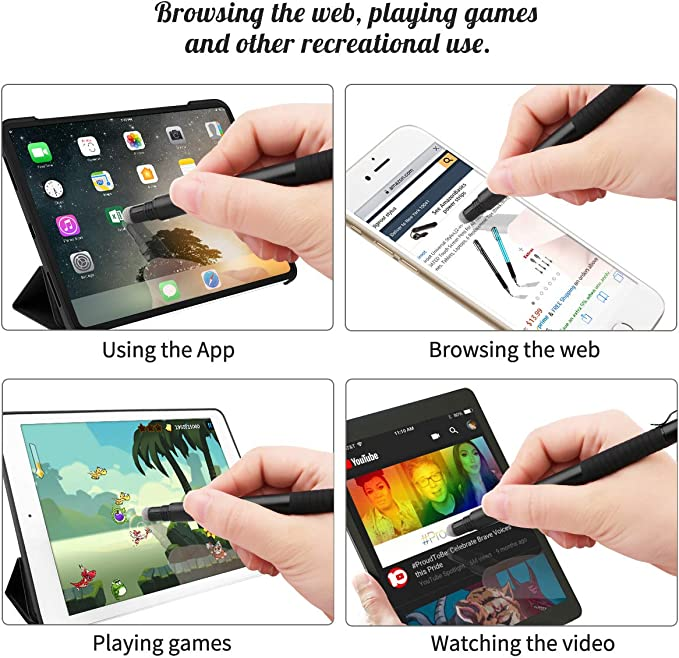 2-in-1 Precision Stylus Disc Tip With Fiber Tip For Notes-taking 2Pcs 4 Discs, 2 Fiber Tips Included - Black//Green Digiroot Drawing Navigation on Touch Screen