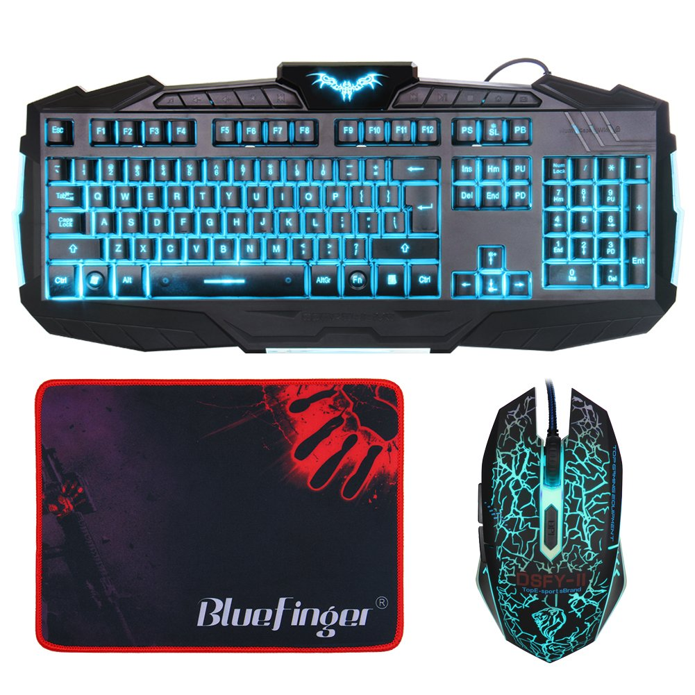 Amazon.com: BlueFinger Gaming Keyboard and Mouse Combo, 3 Color ...