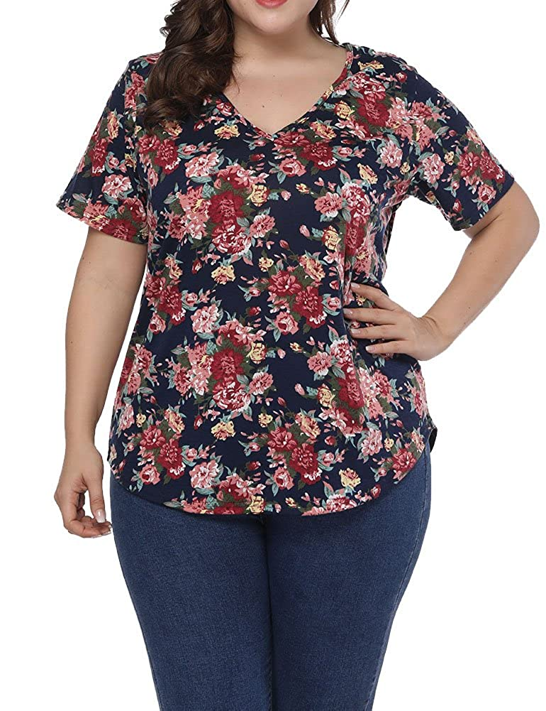 6ef92262c4034 Allegrace Women Plus Size Sexy V Neck Floral T Shirt Short Sleeve Printed Tee  Top at Amazon Women s Clothing store