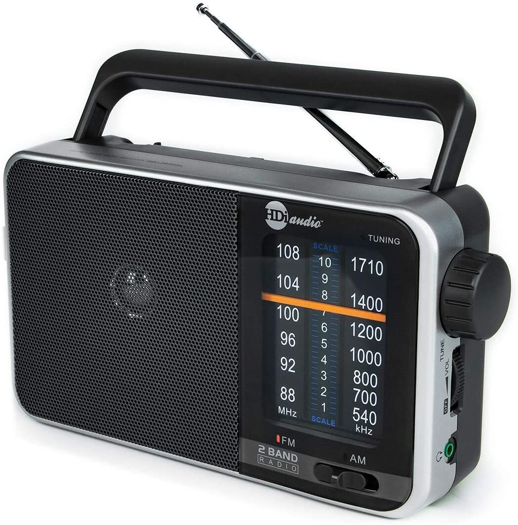 HDi Audio Home Portable Premium Retro AM/FM Analog Radio Player + Headphone Jack + Built in Speaker Rugged   Large Tuning Knob   Best Reception (Silver): Home Audio & Theater