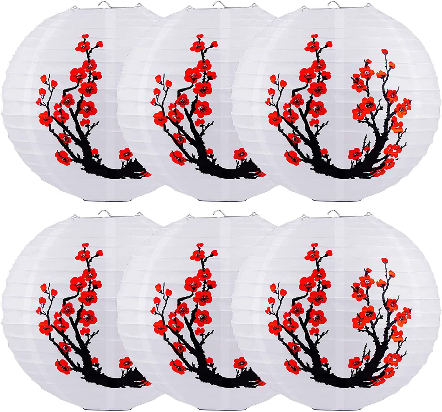 Chinese Japanese Paper Lanterns, 6 Pack 12 Inch Japanese Hanging Lantern, Foldable Reusable Red Cherry Blossom Lantern, White Round Lantern Decorations for Party Decor Wedding Home