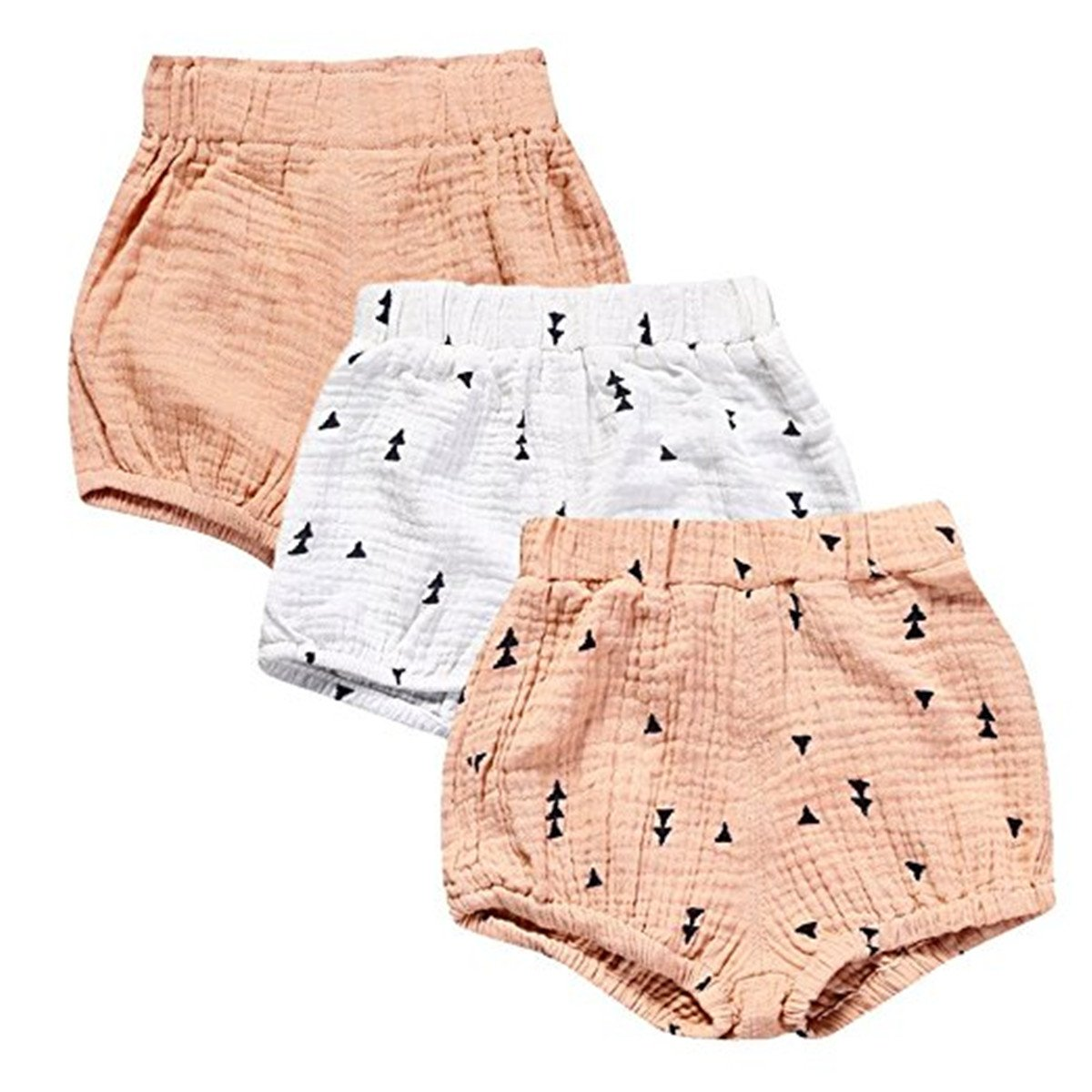 JELEUON 3 Pack of Little Baby Girls Boys Cotton Linen Blend Cute Bloomer Shorts