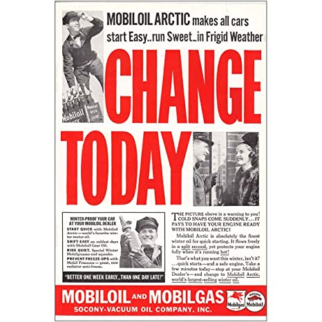 Mobil Oil Change >> Amazon Com Relicpaper 1937 Mobil Oil Change Today Mobil