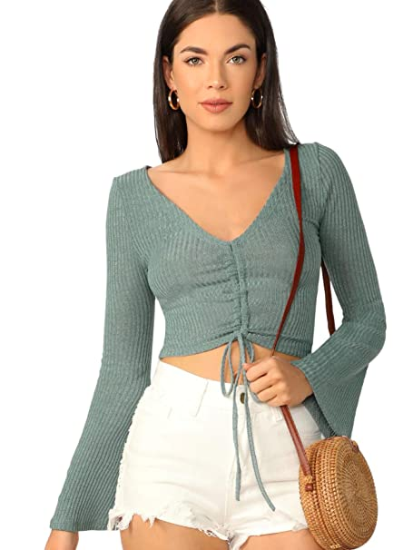 ebf55c546 SweatyRocks Women's Casual Knit Long Sleeve V Neck Tie Ruched Crop Top  Sweater Green XS