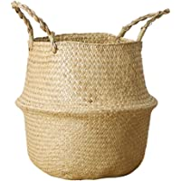 Natural Seagrass Wicker Boho Belly Basket with Handles for Storage Laundry Picnic Toys Organizer Grocery Beach Bag Plant…