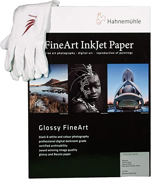 Photolux Professional Set Hahnemühle Photo Rag Metallic 340 G M2 In A3 25 Sheets Fineart Photo Paper In Set With Cotton Gloves Bürobedarf Schreibwaren