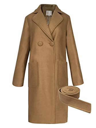 2e4949183b SARAFLORA Long Jackets for Women Notched Lapel Over Coats with Belt Winter  Trench Coats Camel