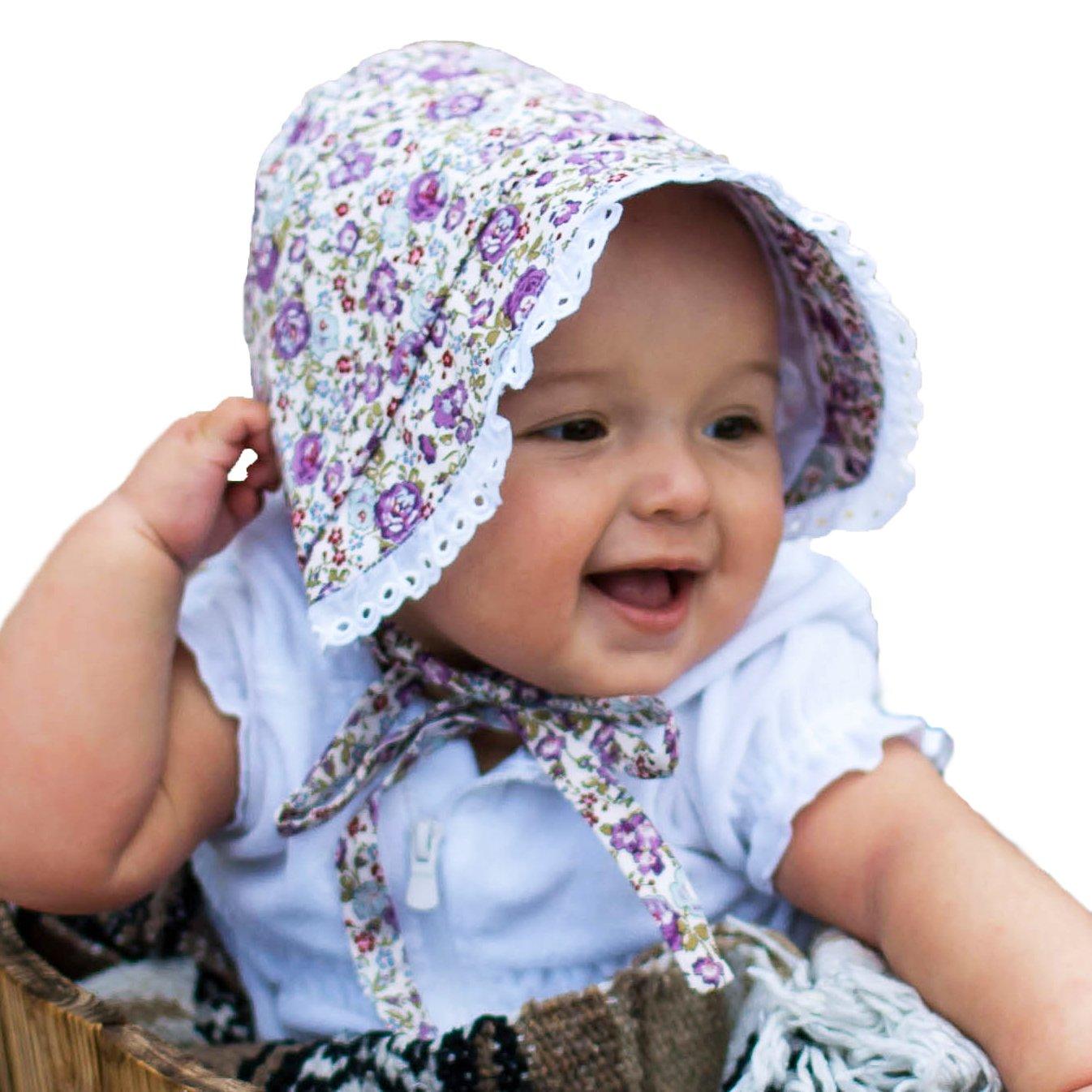 Huggalugs Baby & Toddler Girls Violet Flowers Bonnet UPF 25+ 0-3 by Huggalugs
