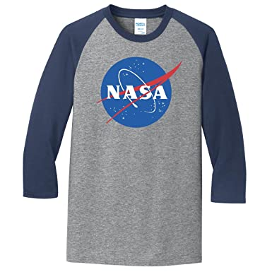 cbaee16ae252 ComputerGear NASA Baseball 3/4 Sleeve Shirt Tshirt Space Science Official  Licensed Heather Grey (