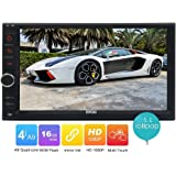 Eincar 16GB R0M Android 5.1 Lollipop HD Quad Core Double Din In Dash Car Radio Stereo Bluetooth GPS Navigation Car Player Support USB/SD OBD2 Mirror Link Steering Wheel Control 3G/4G Function Aux Remote Control