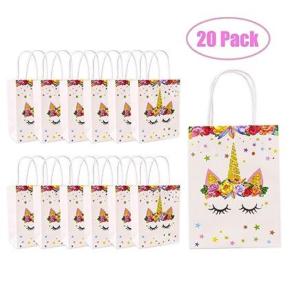 20 pcs Bolsas de papel de regalo unicornio, para decoración ...